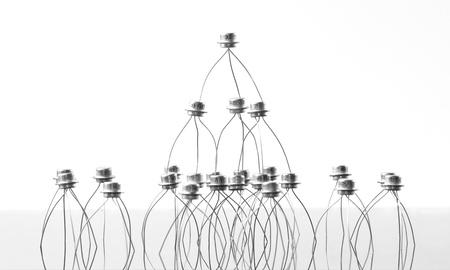 data processors: Concept of transistors acrobats pyramid