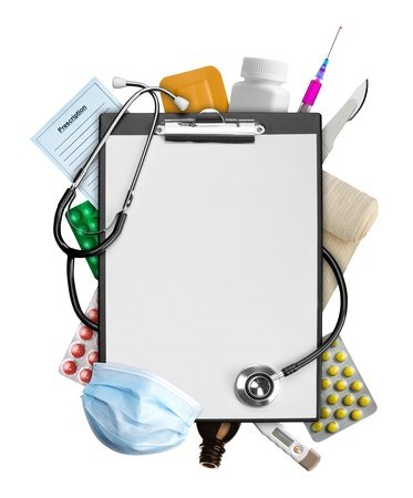 medical clipboard: Empty clipboard with medical supplies Stock Photo