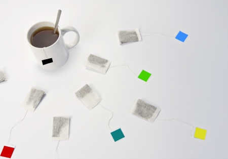 teabag: Cup of tea and different teabags