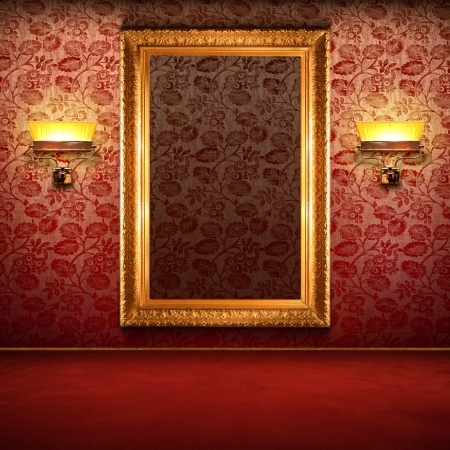 mirror on wall: Red retro interior with empty exposition in gold frame and wall lights