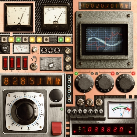 steampunk: Control panel of a vintage research device