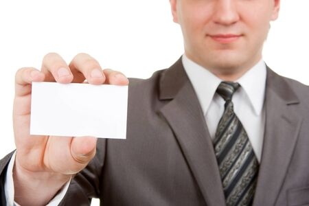 name tags: Businessman showing blank card. Isolated on white background Stock Photo