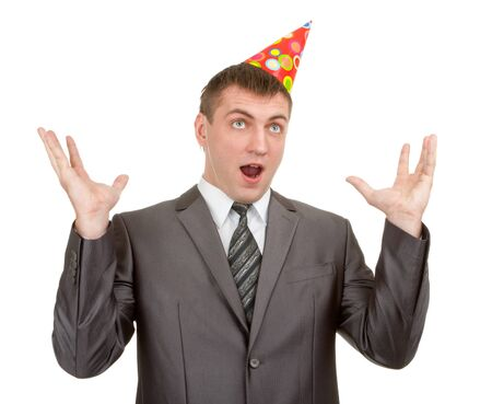 surprise party: Happy expressive businessman in hat isolated on white Stock Photo