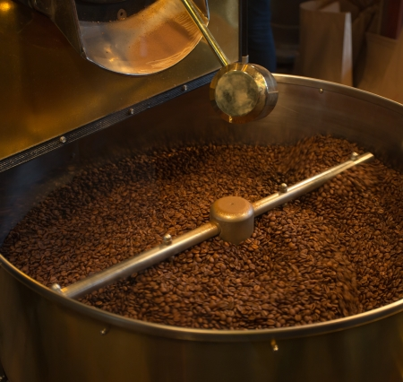 Closeup of coffee roaster bean cooling