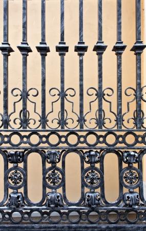 rejas de hierro: Detalle de una puerta de hierro viejo Foto de archivo