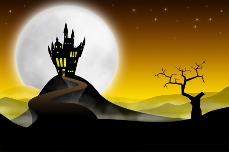 mansion: Spooky far medieval castle with long road against moon