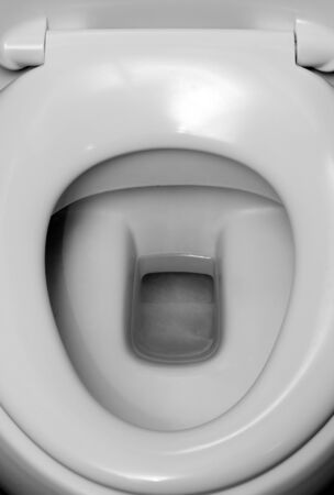 toilet bowl: Close-up view of toilet bowl. In BW