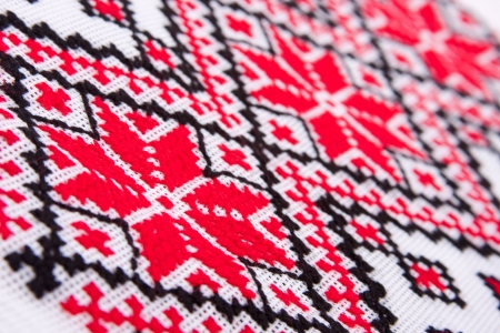needlecraft product: Ukrainian traditional embroidery patterns. Close-up diagonal view