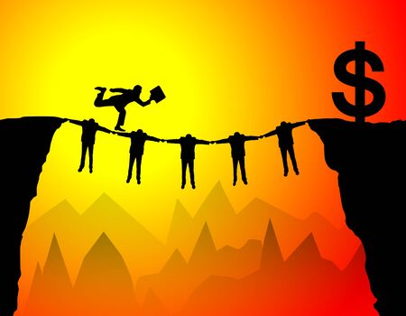 Concept of teamwork helping businessman get the money photo