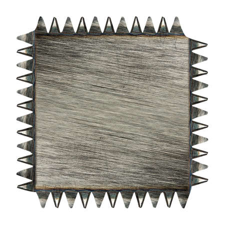 Toothed scratched metal plaque isolated on white Stock Photo - 18195252