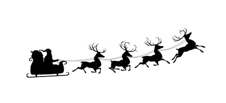 santa sleigh: Silhouette of Santa in sleigh and his reindeers. Isolated on white
