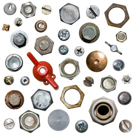 bolts: Screws and nuts. Isolated