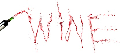 Bottle with splashing red wine. Wine word Stock Photo - 18192010