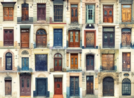 messy house: Collection of old wooden and metal doors Stock Photo