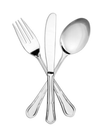 spoon fork: Crossed fork, spoon and knife isolated on white