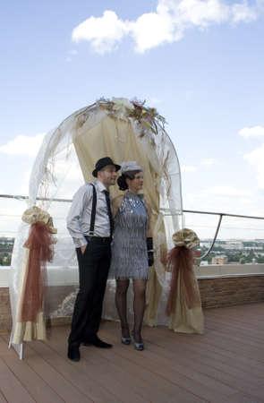 Retro wedding. Bride and groom photo