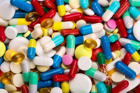 vitamins pills: Many colorful medicines. Background or texture Stock Photo