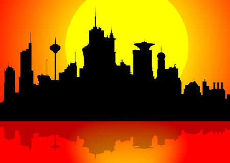 orange county: Silhouette of a downtown cityscape at sunset