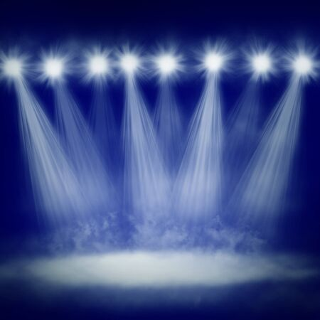 lighting equipment: Abstract illustration of stage lights with fog below Stock Photo