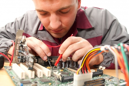 motherboard: Computer support engineer. Isolated on white