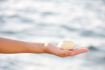 Seastone in palm of hand by the sea photo
