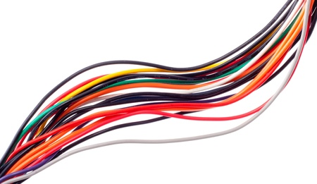 Close-up of colorful electrical cables. Isolated on white photo