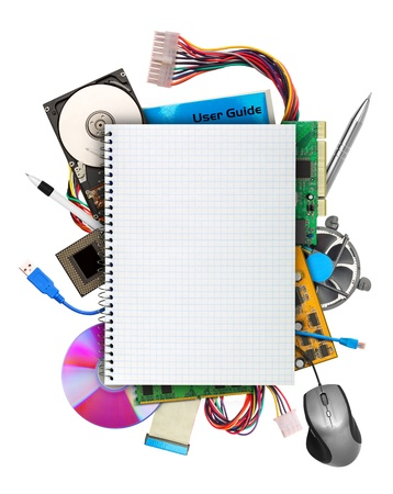 Computer hardware with blank notebook on top. Isolated on white