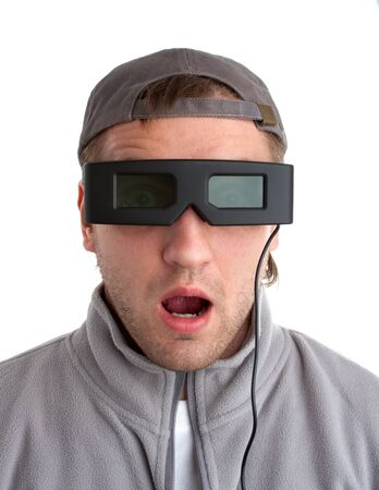Surprised player with 3-D glasses. Isolated on white Stock Photo - 18304222
