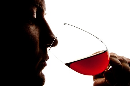 Silhouette of man degusting wine. Isolated on white photo