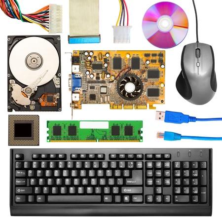 hardware tools: Set of computer hardware. Isolated on white Stock Photo