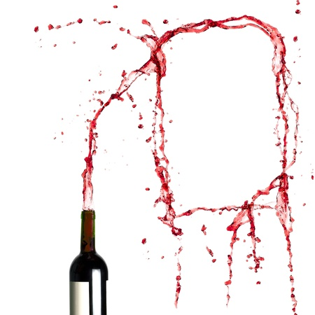 Blank template of splashing red wine  photo