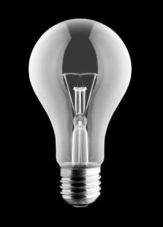 filaments: Electrical light bulb isolated on black