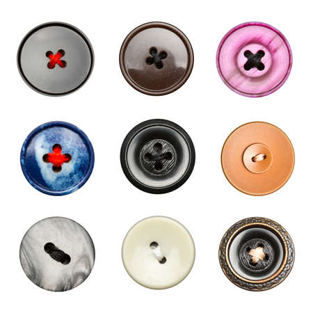 large group of items: Big colorful buttons isolated on white