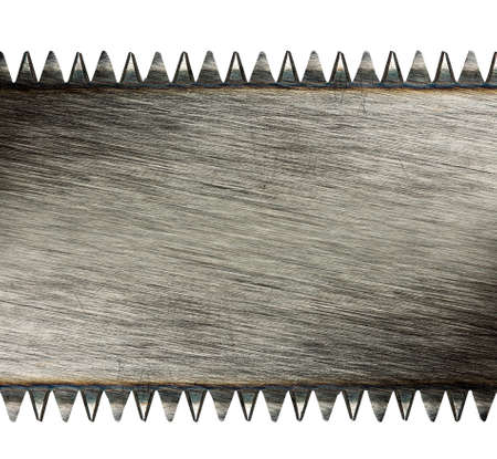 toothed: Scratched saw blade isolated on white