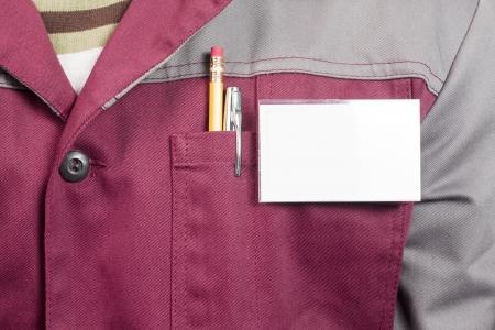 journeyman technician: Close-up of blank name tag on service man uniform