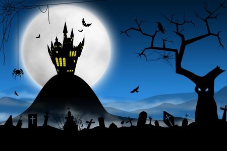 nightmare: Spooky Halloween night. Foggy cemetery and far haunted castle against moon