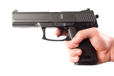 handgun: Aiming. M23 Double Eagle. Isolated