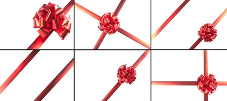 directly above: Red gift bow and ribbons isolated on white. Six templates
