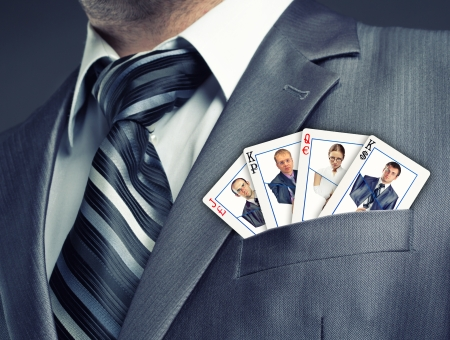 Business team cards in suit pocket photo