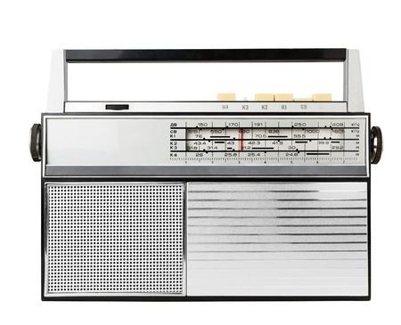 transistor: De radio pasado de moda aislado en un blanco