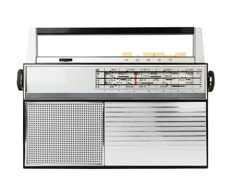 transistor: Old fashioned radio isolated on a white
