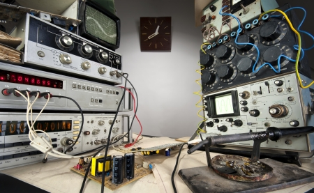 Interior of vintage technological laboratory. Wide angle Stock Photo - 18365506