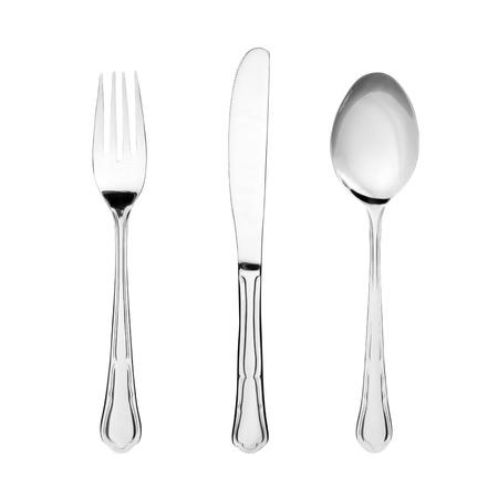 cubiertos de plata: Plater�a. Tenedor, cuchara y cuchillo aislado en blanco Foto de archivo