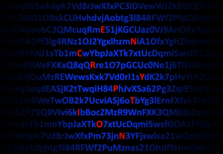 Encryption concept - red decrypted letters in middle of digital code Stock Photo - 18363251