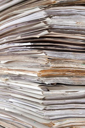 order chaos: Huge stack of papers. Use for background or texture Stock Photo