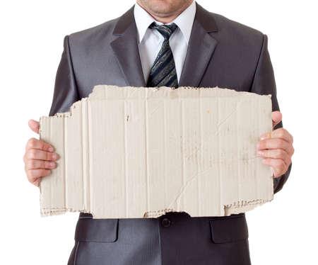 manos sucias: Despedido hombre de negocios con marco de cartón sucio. Aislados en blanco