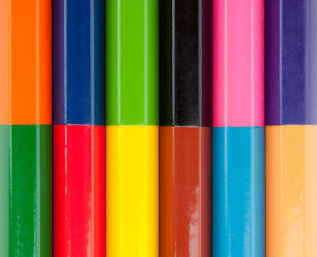 art and craft equipment: Row of color pencils. Background or texture