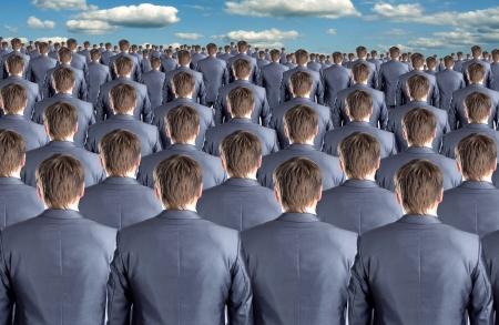pessoas: Vista traseira de muitos clones id