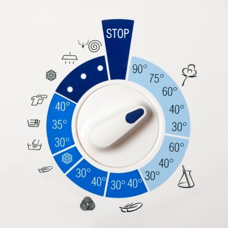 prádlo: Close-up pohled na mytí ovládacím panelu stroje Reklamní fotografie