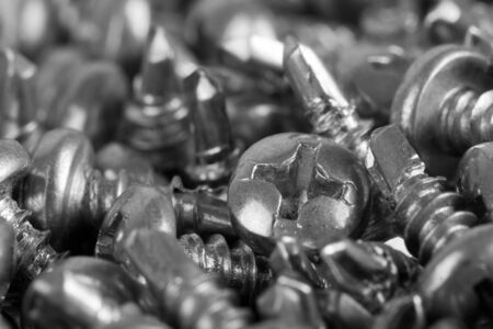 Close-up view of small screws. In B/W Stock Photo - 18363589